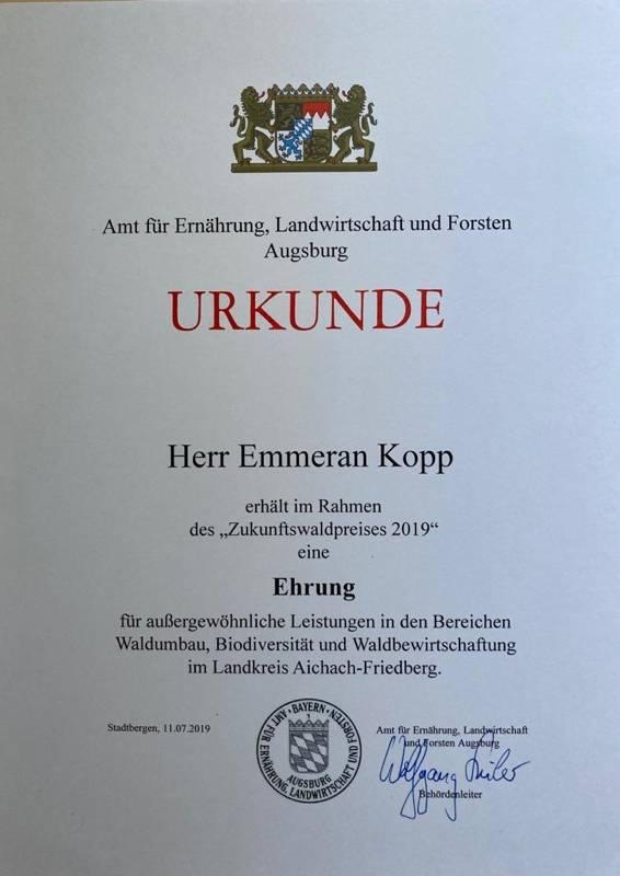 Zukunftswald, Urkunde